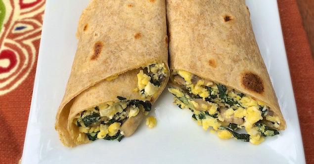 Egg, Mushroom & Kale Breakfast Burrito