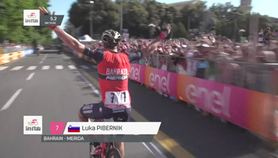 Giro d'Italia Rider Celebrates Early