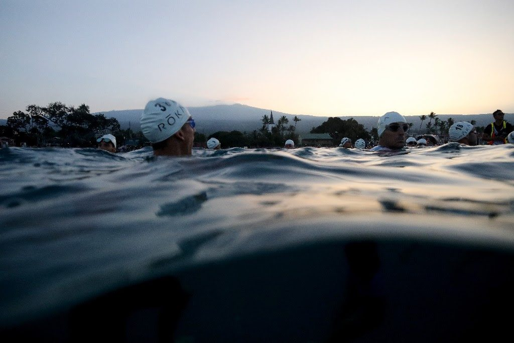 2017 IRONMAN World Championships: CALM BEFORE THE STORM: IRONMAN World Champion professional men were treated to a stunning start in Kailua-Kona, Hawai'i as they waited to begin their 2.4 mile swim. (Photo by Tom Pennington/Getty Images for IRONMAN)