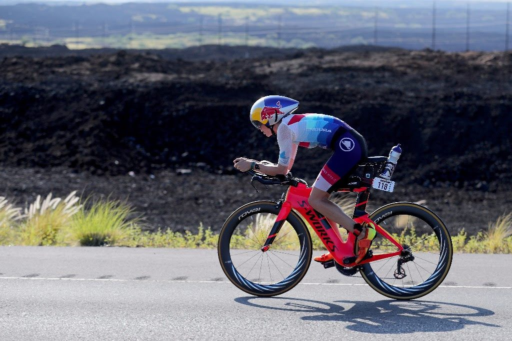ROOKIE ON FIRE: Great Britain's 23-year old Lucy Charles is setting women's race on fire in her first appearance at the IRONMAN World Championship. Lucy took a commanding lead on the bike, after missing the swim course record by a mere 5 seconds. (Photo by Tom Pennington/Getty Images for IRONMAN)
