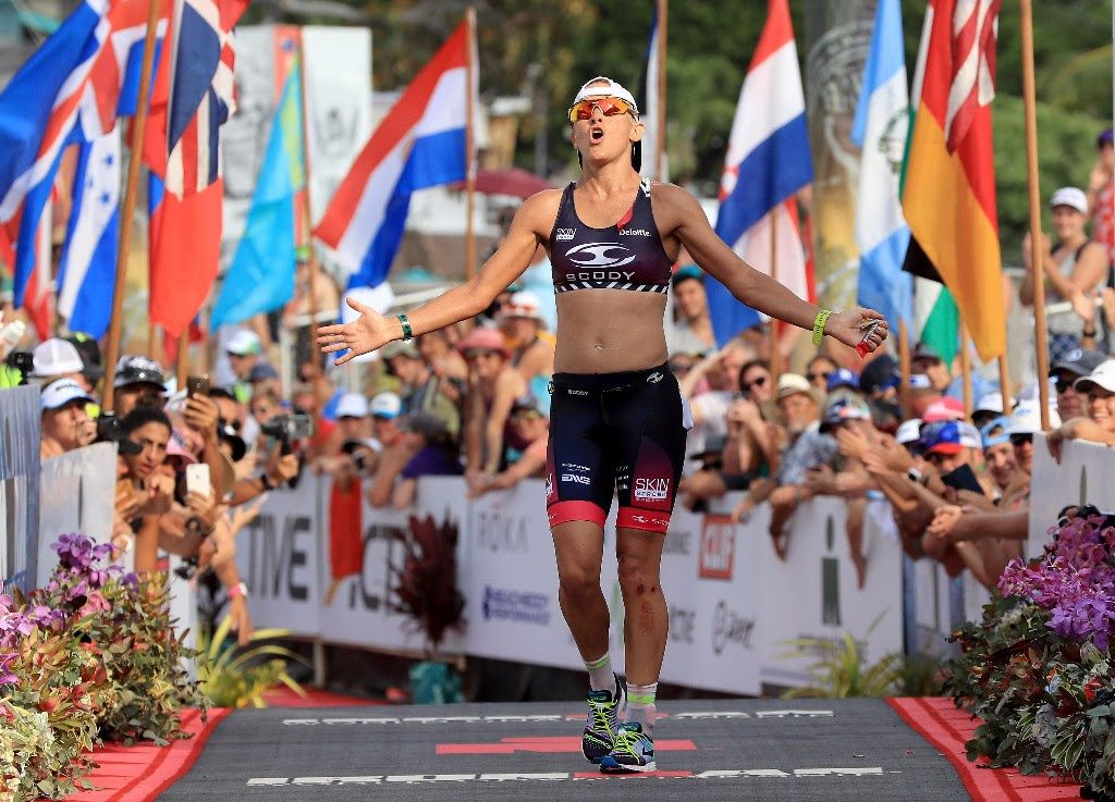 DEEP BREATHS: Australia's Sarah Crowley absorbs the feeling of claiming third place. Australia was the second-most represented country at the 2017 IRONMAN World Championship in Kailua-Kona, Hawai`i with 234 athletes. (Photo by Tom Pennington/Getty Images for IRONMAN)