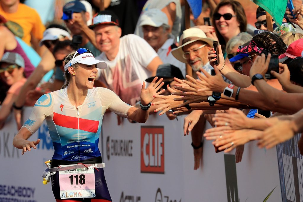 SMILES APLENTY: Great Britain's Lucy Charles enters the finish chute in second place at her first IRONMAN World Championship in Kailua-Kona, Hawai`i. (Photo by Sean M. Haffey/Getty Images for IRONMAN)