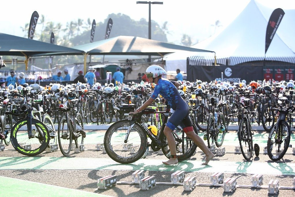 ONE DOWN TWO TO GO: A female athlete departs transition to begin the 112-mile bike leg at the 2017 IRONMAN World Championship in Kailua-Kona, Hawai'i. (Photo by Maxx Wolfson/Getty Images for IRONMAN)