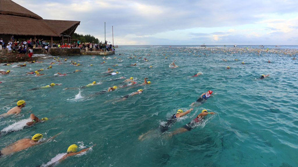 The swim at IRONMAN Cozumel has been described as paradise.