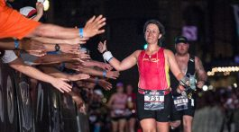 The IRONMAN Louisville finish line is truly special, and the event won for Best Overall Run.