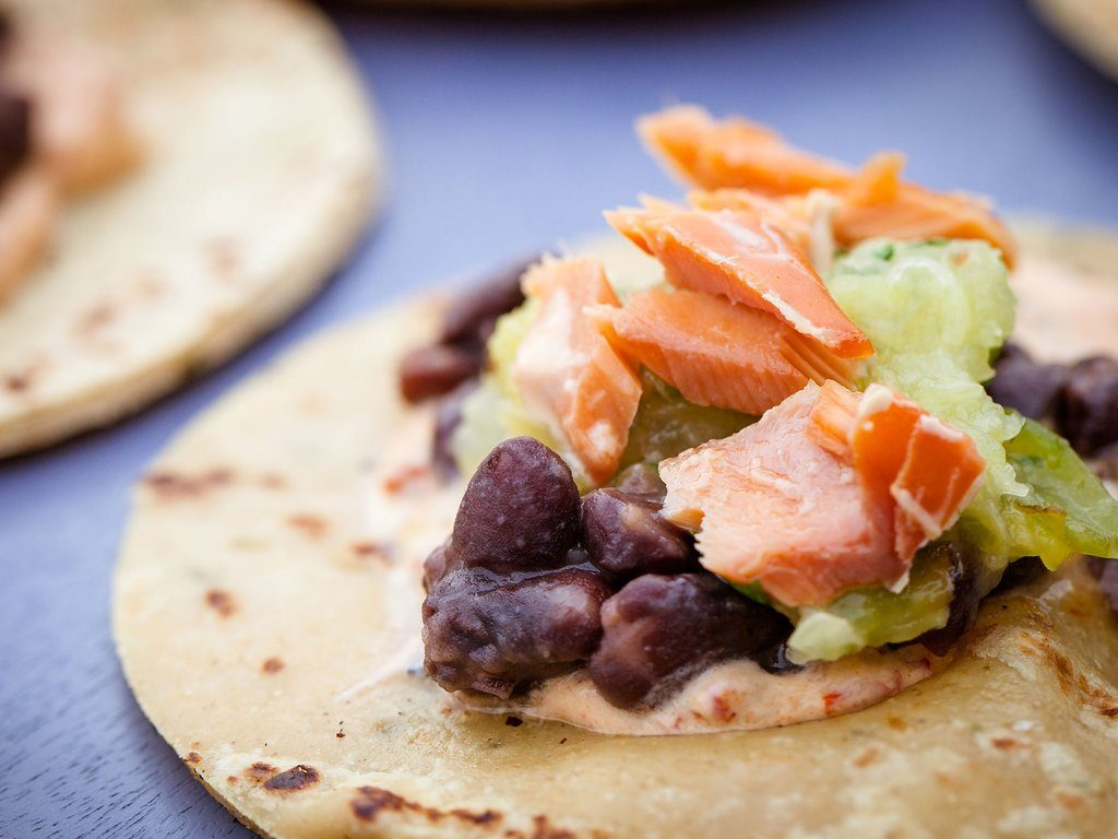 Salmon Tacos with Pineapple-Tomatillo Salsa